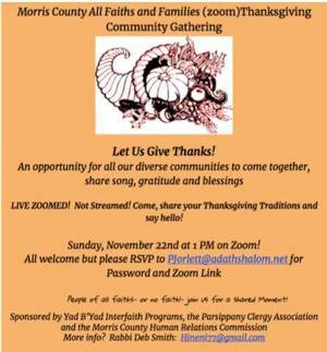 Parsippany's Religious Organization Invite Residents to Celebrate Thanksgiving Virtually with the Clergy Council This Sunday!