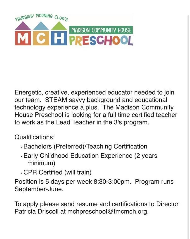 Madison Community House Preschool, Teacher, Hiring, Job Poting