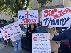 School Mask Mandate Opponents Rally at the State House
