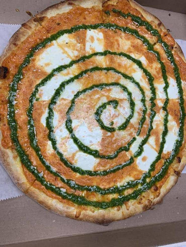 Tie-Dye Pizza - vodka sauce, mozzarella & pesto!