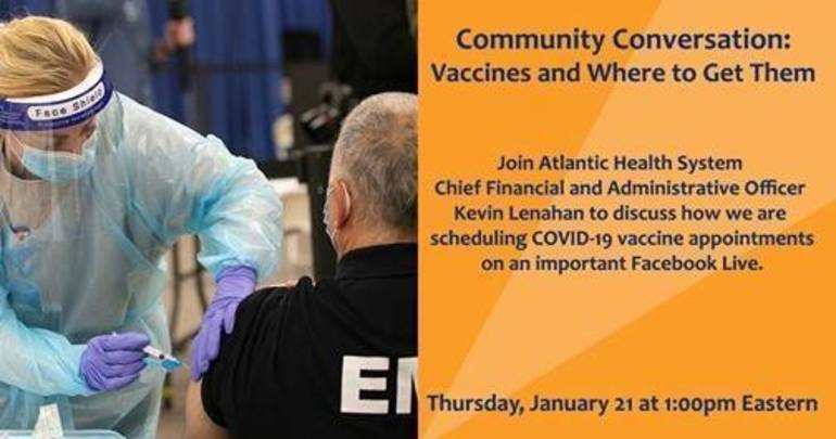 TODAY: Facebook Live Event with Atlantic Health - Vaccines and Where to Get Them