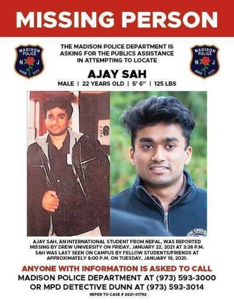 Still Missing! Update on Drew University Student Ajay Sah