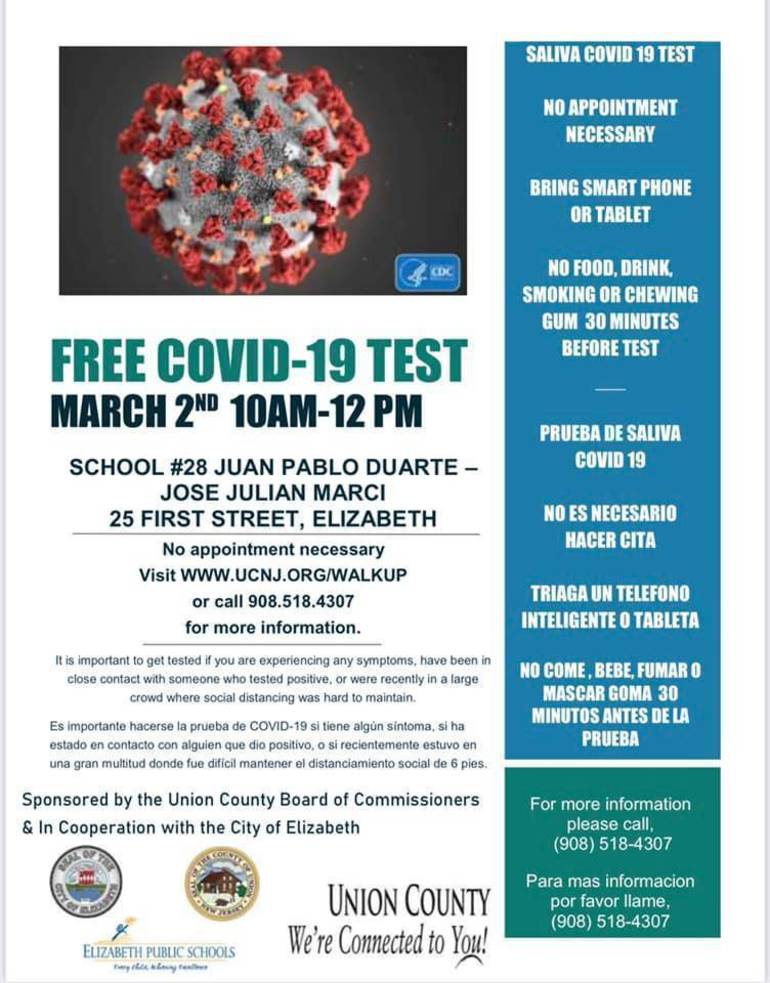 Union County Offers Free COVID Testing in Elizabeth and Roselle March 2, 4