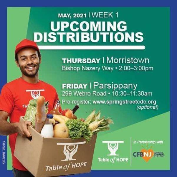 Table of Hope's Free Food Distribution is May 13 in Morristown
