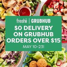 $0 Delivery on All Freshii Morris Plains Order Over $15 with GrubHub