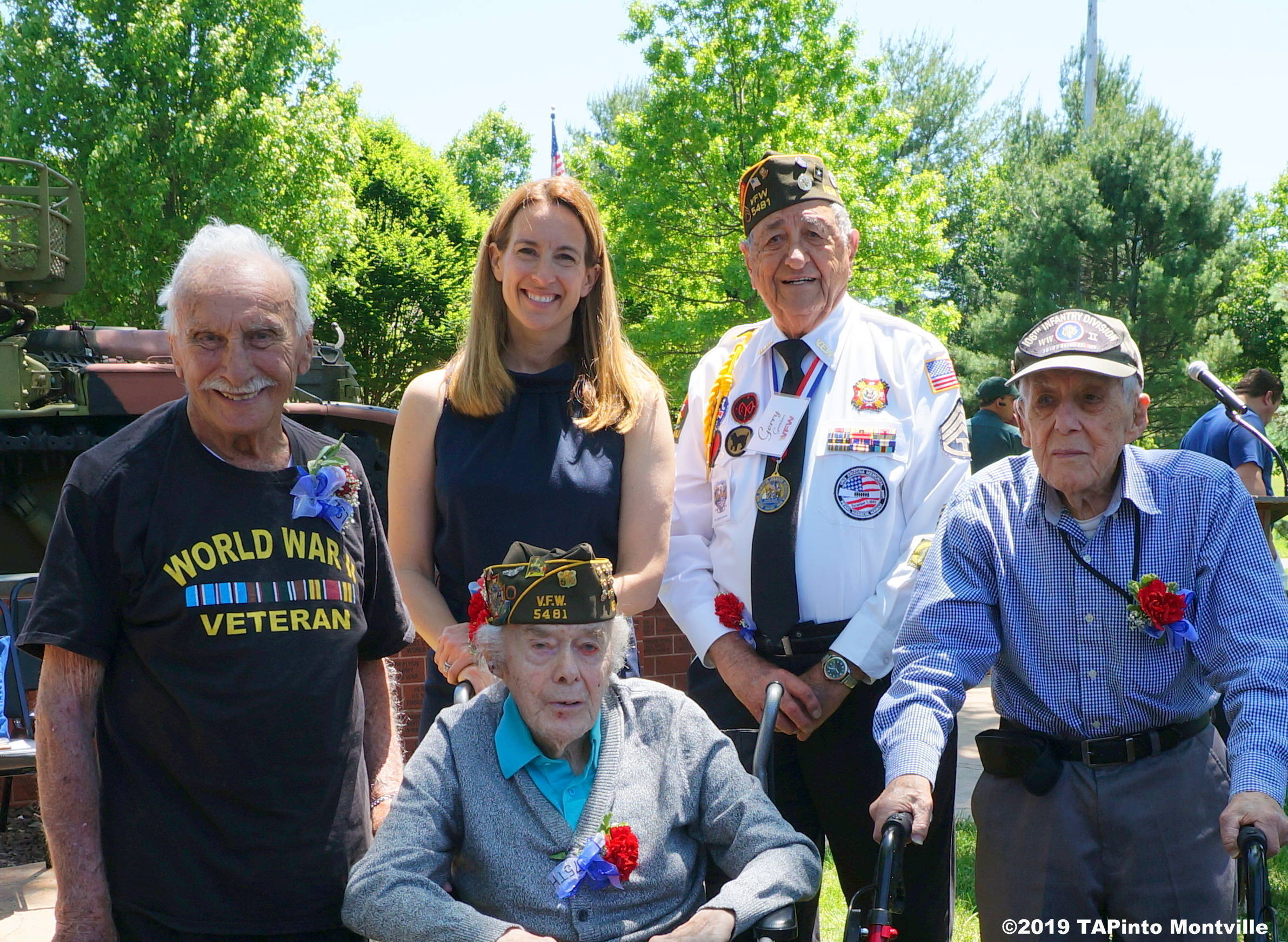 1 Congresswoman Mikie Sherrill with WWII vets Herbert Terner, Joe Quade, Gerry Gemian and Howard Baker ©2019 TAPinto Montville 2.JPG