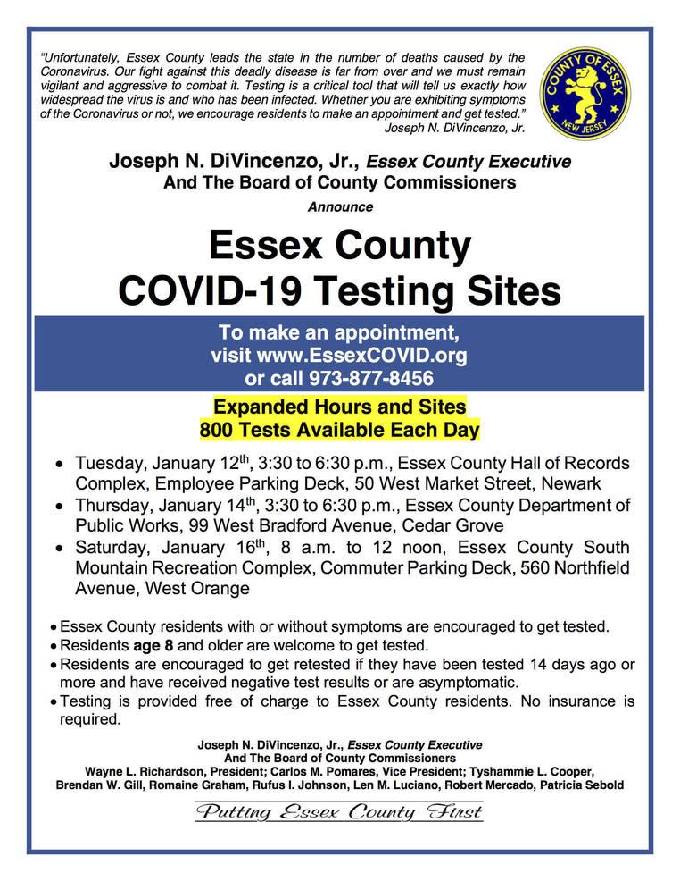 Essex County Coronavirus Testing, Jan. 12-16