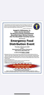 Essex County Emergency Food Distribution Event Thursday at Bloomfield Public Library