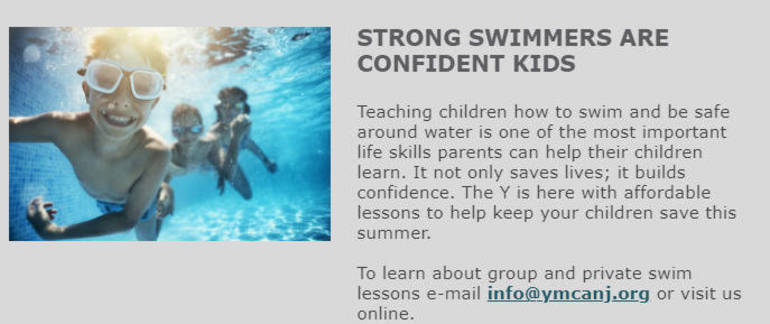 YMCA: Strong Swimmers are Confident Kids, Register Today.