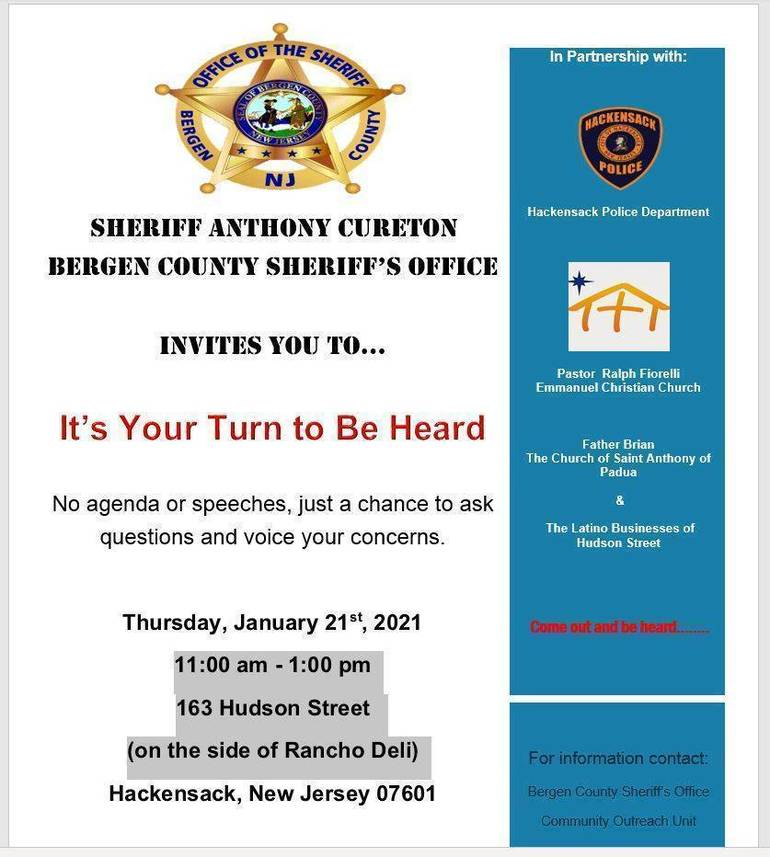 POSTPONED: Hackensack Residents Invited to Meet with Hackensack Police and Bergen County Sheriff's Department