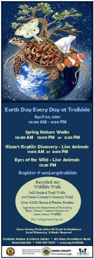 Celebrate Earth Day with Family & Friends at Union County's Trailside Center, April 24