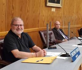 Mayor Chris Vergano at his first council meeting since he began treatment for multiple myeloma