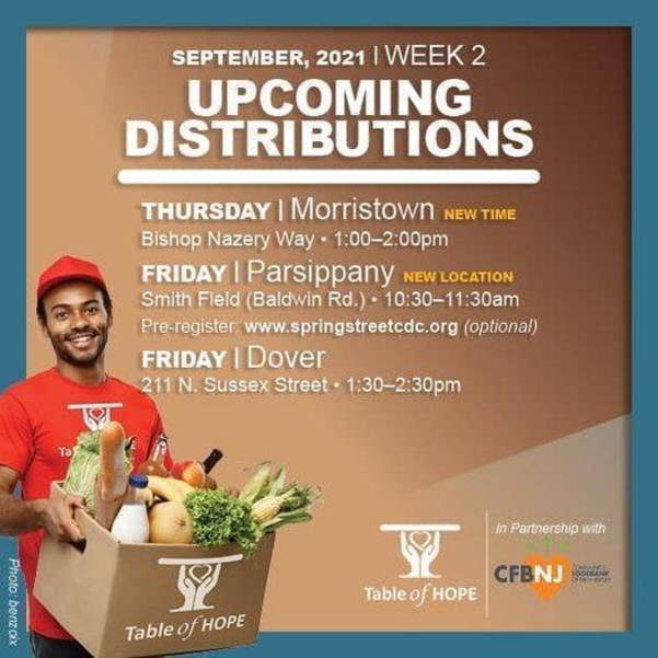 Table of Hope's Free Food Distribution is Today, September 10th in Parsippany