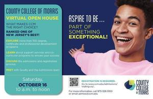 County College of Morris to Hold Virtual Open House; Oct 16