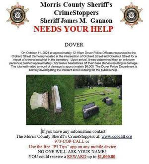 12 Headstones Vandalized in Dover Cemetery; Morris County Sheriff's Office Investigating