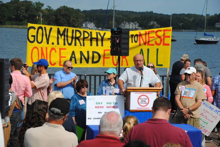 2- Mayor Menna of Red Bank speaking at the rally against the NESE project.JPG