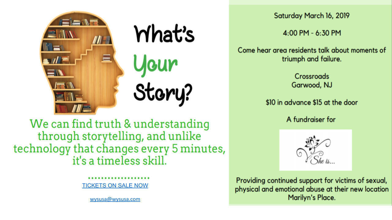 What's Your Story? on 3/16 at Crossroads