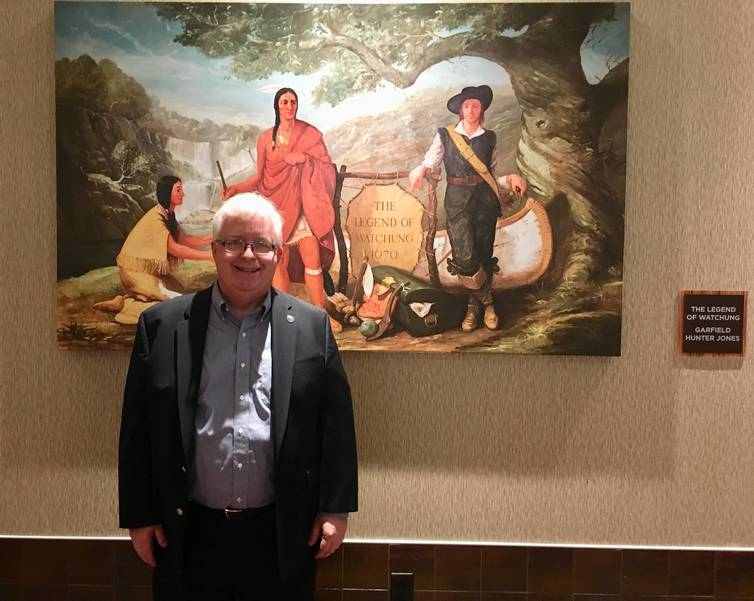 Cinemark Watchung Opens, former Mayor Pote in front of The Legend Of Watchung mural