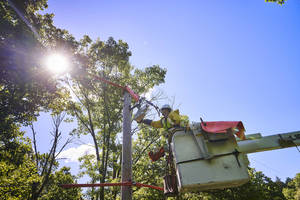 Utility Line Worker Upgrades Electric Equipment