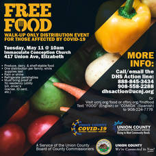 Union County to Hold COVID-19 Emergency Food Distribution on May 11 at Immaculate Conception Church in Elizabeth