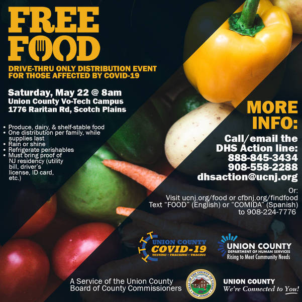 COVID-19 Emergency Food Distribution  at VoTech Campus in Scotch Plains on May 22