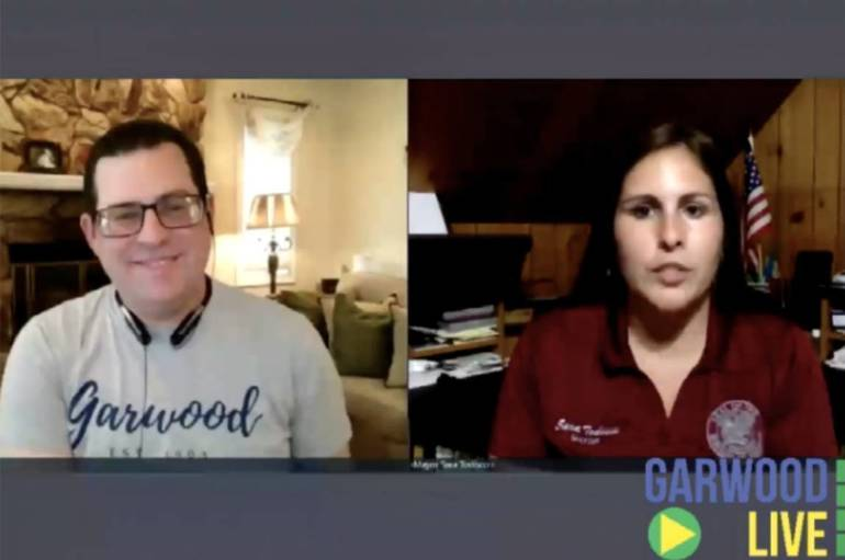 "Candidate Vincent Kearney with Garwood Mayor Sara Todisco during a recent ""Live Q&A with the Mayor"" broadcast by Garwood LIVE"
