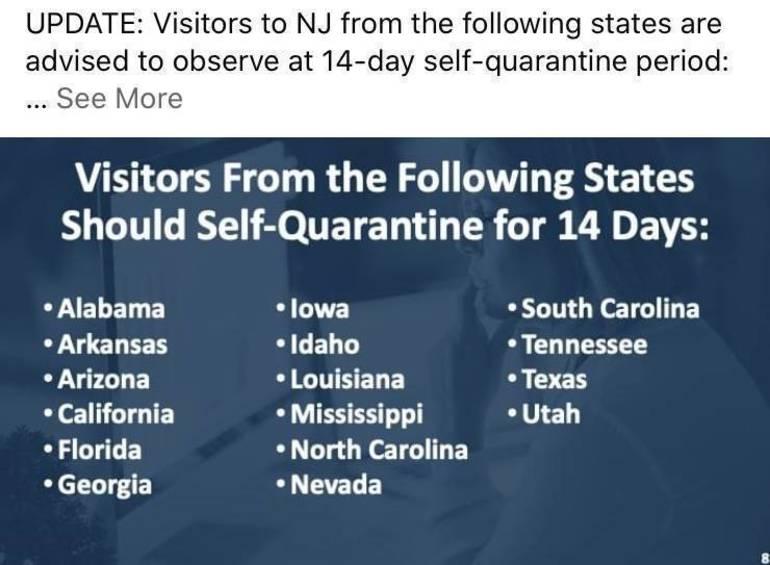 Eight Additional States Added to Quarantine List
