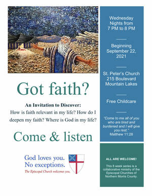 Fall Collaboration of the Episcopal Churches of Northern Morris County Program Starts Wednesday