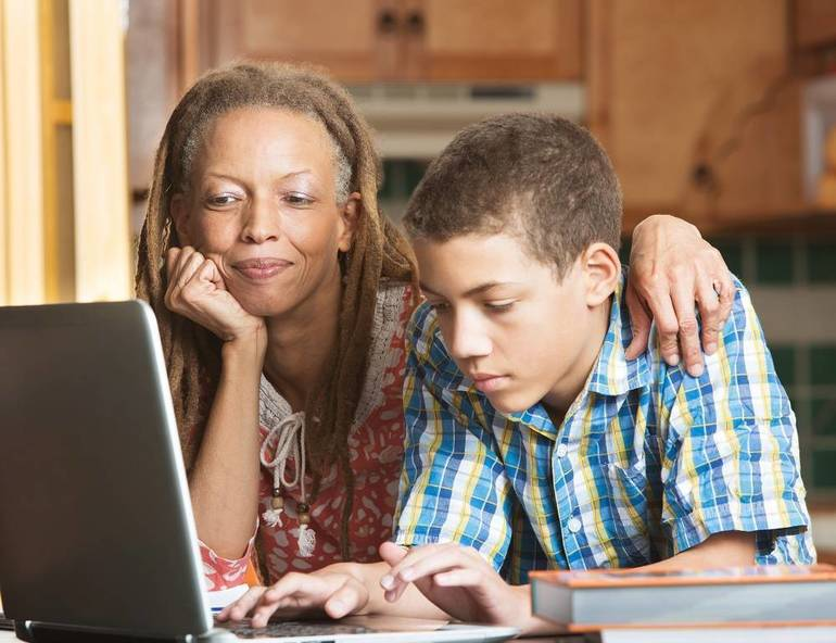 Child at computer, homeschool