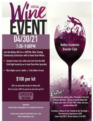 Nutley Academic Booster Club, Nutley ABC, Wine Tasting,