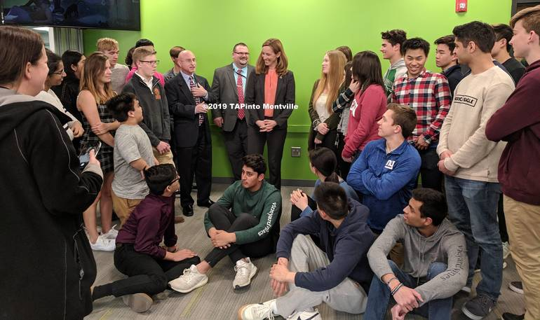 a Congresswoman Mikie Sherrill with students at MTHS following a photo op ©2019 TAPinto Montville 2 CROP.jpg