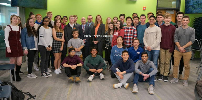 a Congresswoman Mikie Sherrill with students at MTHS ©2019 TAPinto Montville.JPG