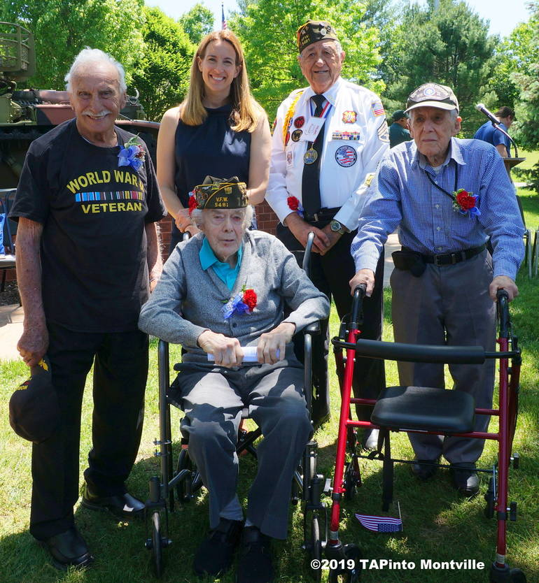 a Congresswoman Mikie Sherrill with WWII vets Herbert Terner, Joe Quade, Gerry Gemian and Howard Baker ©2019 TAPinto Montville.JPG