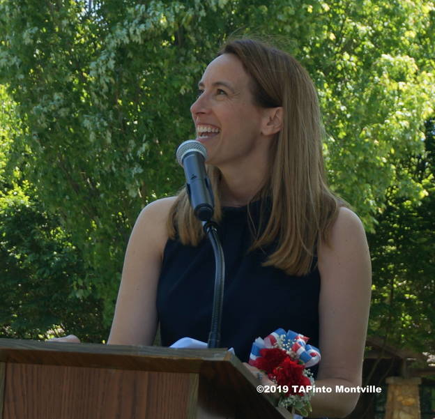 a Congresswoman Mikie Sherrill laughs with joy as the Beechcraft Baron repeats its flyover ©2019 TAPinto Montville.JPG