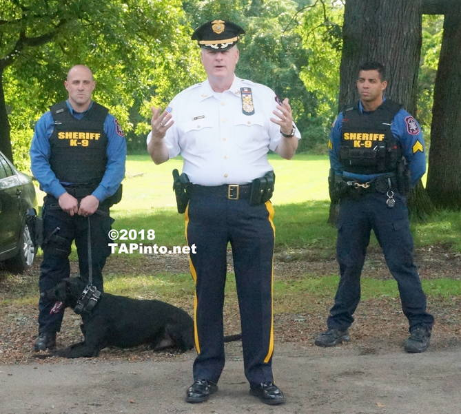 a Sheriff James Gannon (center) introduces Boomer to the attendees ©2018 TAPInto Montville.JPG