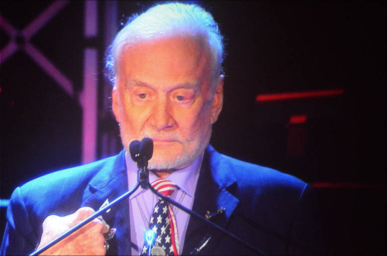 Astronaut Buzz Aldrin, the second man to walk on the moon, has attended 9 of 11 induction ceremonies.png