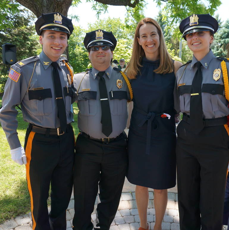 a The Montville Police Explorers pose with Congresswoman Sherrill ©2019 TAPinto Montville.JPG