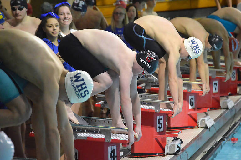 Barney Veres, Westfield (l), Will Hedges, Summit (c), and Thomas Brennan (r), Westfield at the start of the 200 Breaststroke.png