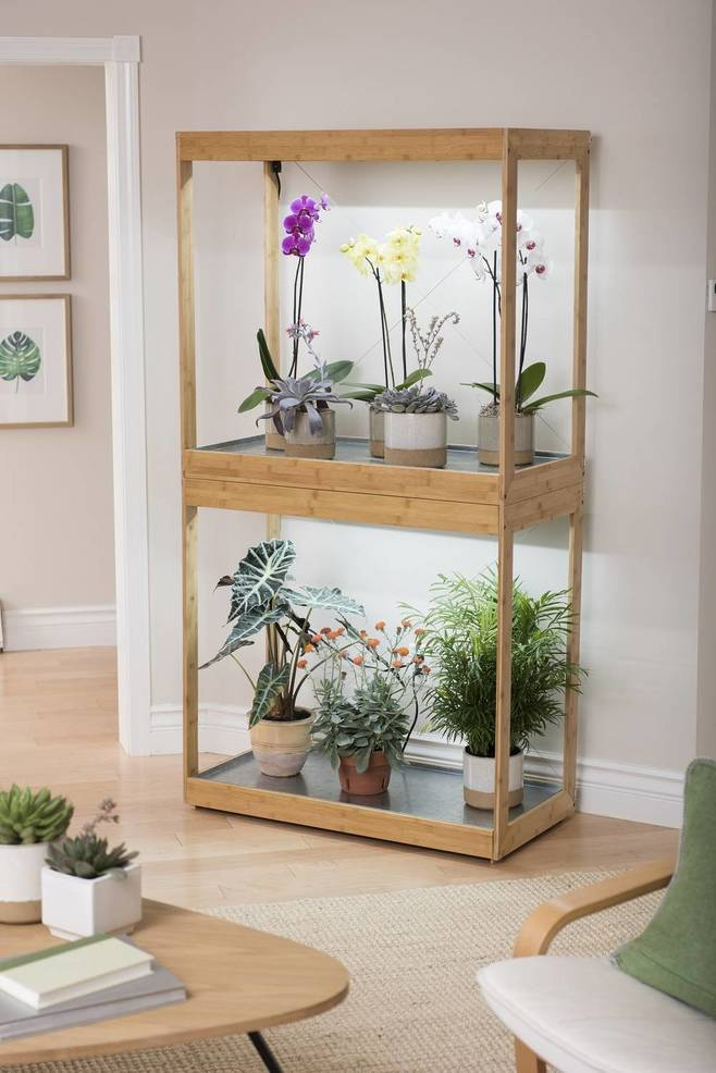 Bamboo LED Grow Light Gardens are attractive and have bulbs more than twice as bright as most standard LEDs