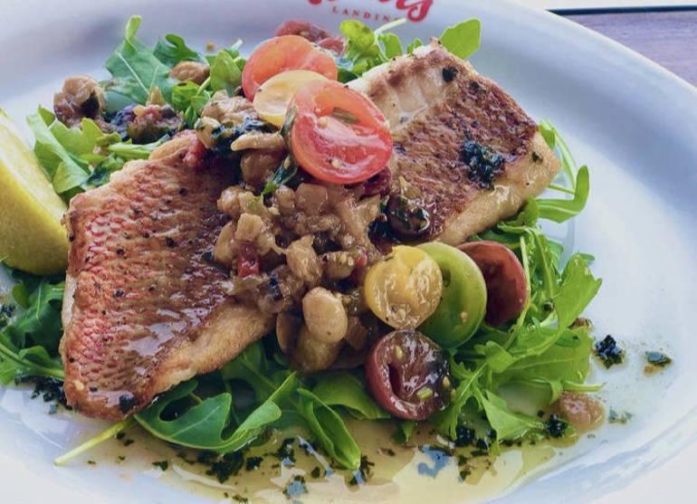 Pan-seared fish with tomato and eggplant caponata