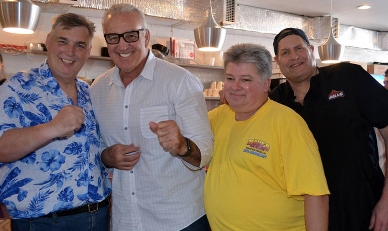"Erwin ""Benzee"" Benz, boxing legend Gerry Cooney, John Fox, and Paul Watterson at The Fanwood Grill"