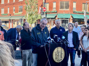 Governor Murphy Visits Downtown Millburn in Aftermath of Ida Flooding