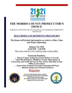 Prosecutor's Office Sponsoring Webinar on Bias Crimes and Reporting Procedures