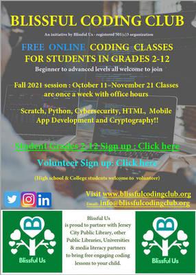 Carousel image e7a5513e39d68e1435b7 0a863175245965237f48 blissful coding club fall 2021 student   volunteer recruits