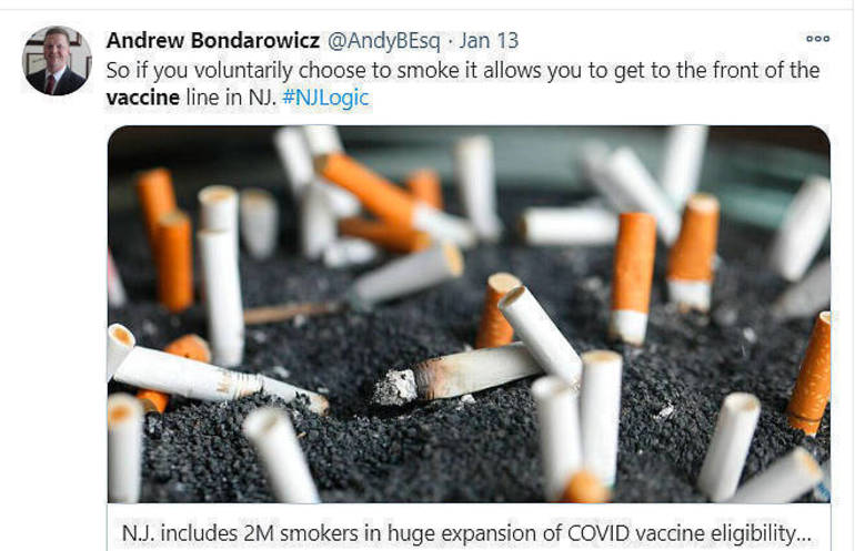 Tweet by former Scotch Plains Councilman Andrew Bondarowicz