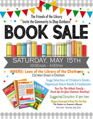 Friends of the Library to host  outdoor book sale on Saturday, May 15th
