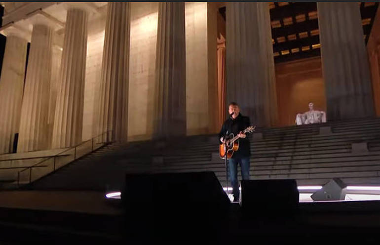 Bruce Springsteen performs for the Biden Inaugural event at the Lincoln Memorial in Washington, DC.