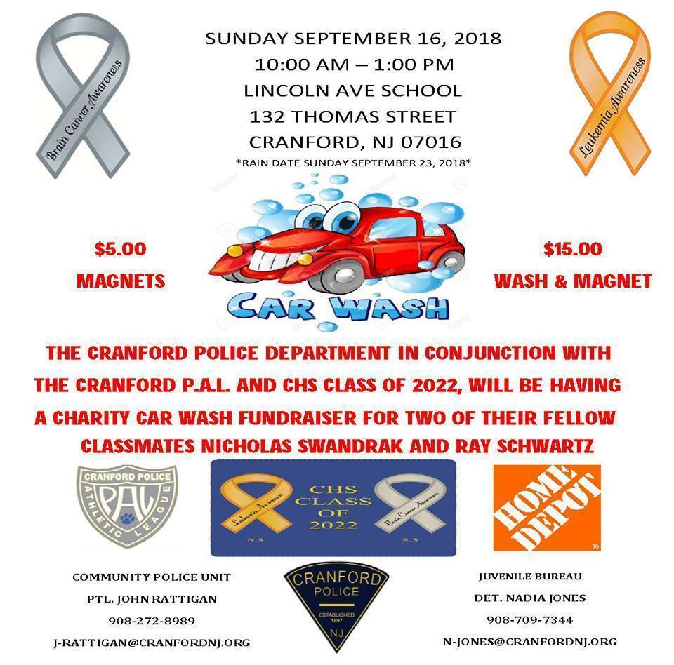 Charity Car Wash To Be Held For Two Cranford High Students