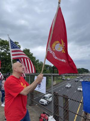 Scenes from the Flag Rally at GSP Overpass in Sayreville