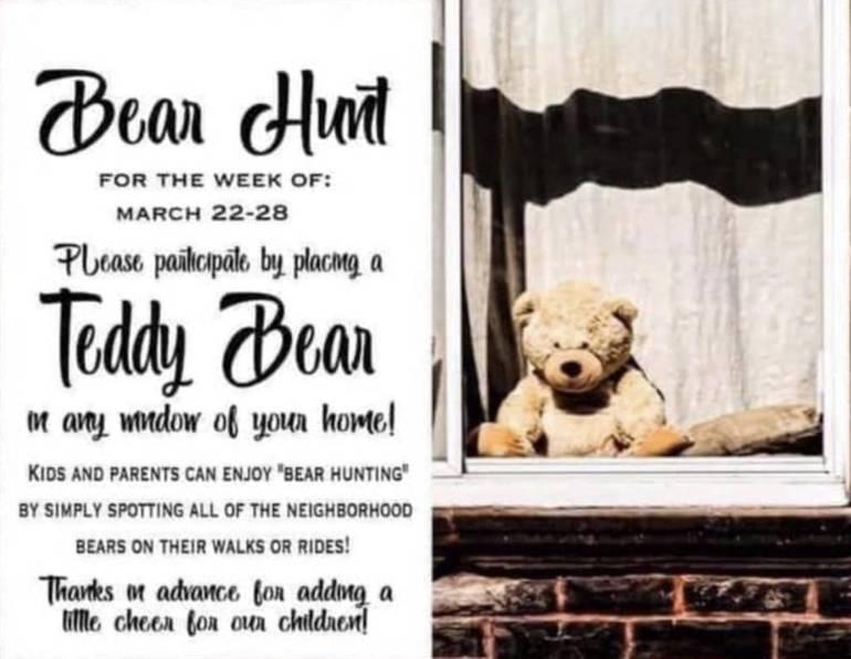 Teddy bears in windows to cheer up kids during lockdown